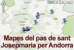 Mapes dels indrets per on va passar sant Josepmaria